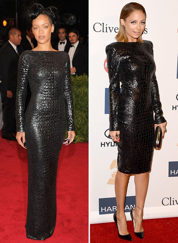 rihanna nicole richie black dress