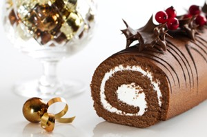 Decorated Christmas Yule Log